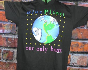 Blue Planet Our Only Home Marci Lipman 1990 Vintage T-Shirt