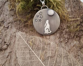Sterling silver moon gazing Hare pendant
