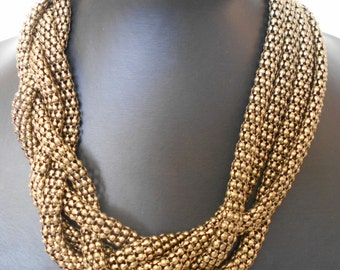 Vintage 90's jewelry necklace,Necklace of oxidized bronze, Triple necklace made of metallic closed loops