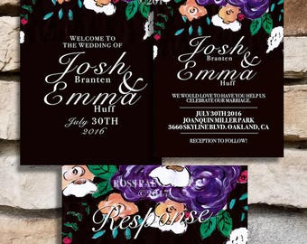 Purple Floral Wedding Invitation and Welcome Sign Set