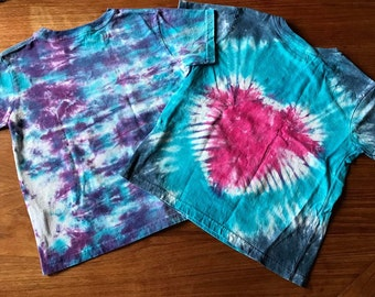 Toddler Size 7 Blueberry Heart Tie Dye Tee Shirts
