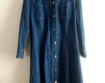 Vintage Denim Kennington Express Disco Collar Shirt Dress / Women's Size M/L / Vintage Midi Dresses