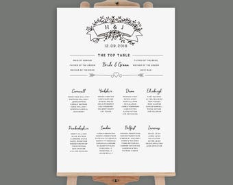 Wedding table plan etsy printable table plan xl seating chart digital wedding table plan pdf table plan pronofoot35fo Image collections