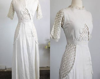 Vintage 1900s Edwardian Dress Crochet Lace Sleeves And Trim / 1910s Linen Gown Gibson Girl / Antique Full Length Dress Victorian Titanic Era