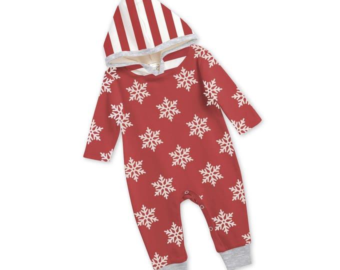 HOLIDAY SALE! Baby Christmas Hoodie Romper, Baby Romper, Snowflake Baby Hoodie, Red & Ivory, Tesa Babe, Tesababe