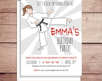 Girl Karate Invitations - Party Invitations - Karate Birthday Party Invitations - Girl Birthday Party Invitations - Custom Invitations