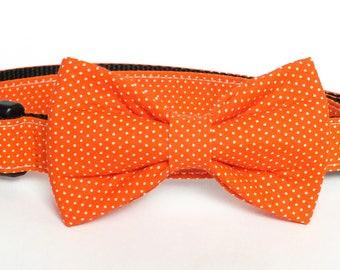 Orange Pin Dot Dog Collar Bow Tie set, pet bow tie, collar bow tie, wedding bow tie