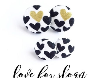 Love for Sloan Mommy and Me Set / Big Sis and Me Set, Monochrome Hearts Button Earrings, Heart Stud Earrings