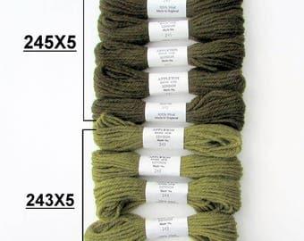 APPLETON TAPESTRY W00L//*10* Skeins of Appleton Tapestry wool . Ideal for Needlepoint/Dark & Medium Moss Greens .  // On Special!!