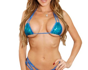 Electric Blue and Green Mermaid Scales Square Top String Corset Tie Side Double Strap Scrunch Butt Bikini Bottom