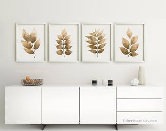 Exceptionnel 4 Set Art Prints Botanical Digital Posters Dining Room Home Decor Wall Art  Brown Print Set