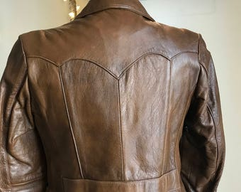 60's Milk Chocolate Brown Leather Jacket! Size Small