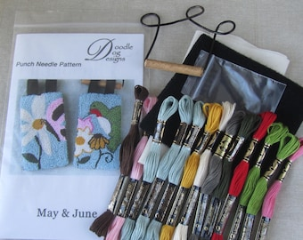 Punch Needle KIT ~ Spring Banners ~ Punchneedle Kit ~ Needle Punch Kit ~ Mailed Paper Pattern ~ Hummingbird ~ Butterfly ~ Flowers