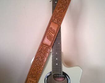 Carved Leather Guitar Strap, Hand Tooled, Personalized with Your Initials, Celtic Knot Design, Tan, Brown or Black, For Acoustic or Electric