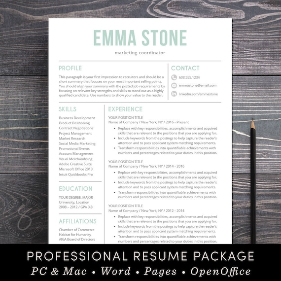 Resume Template Professional And Modern Resume / Cv Template