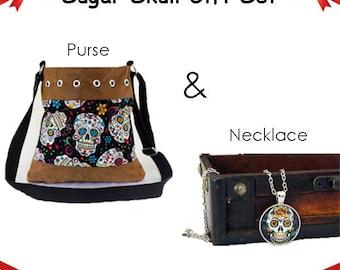 Sugar Skull Gift Set, Sugar Skull Purse, Sugar Skull Necklace, Day of the Dead Gift,