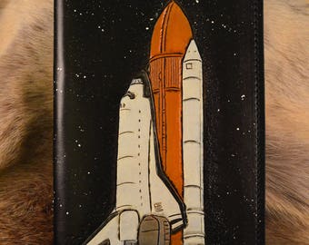 Space Shuttle leather journal, NASA leather journal, refillable leather notebook, travel journal, sketchbook, moleskine