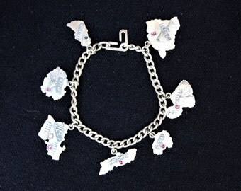 Vintage Sterling Silver HAWAIIAN Islands CHARM BRACELET Pink Stones