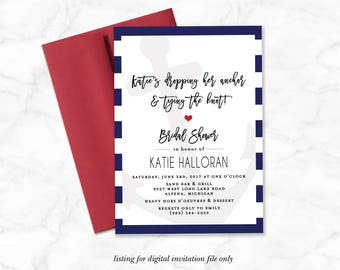 Nautical Bridal Shower Invitation, Dropping Anchor and Tying the Knot, Navy and White Wedding Shower Invitation, Modern Bridal Invite