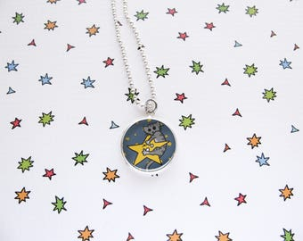 Space Cat Necklace, Kitty Star , Cute Cat Pendant, Nerdy Accessories, Geek Jewelry, Funny Cats, Cat Lover Gift, Silver Plated, Ball Chain