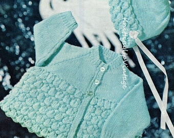 Baby Knitting Pattern pdf Matinee Coat and Bonnet  18-22 chest 4 ply