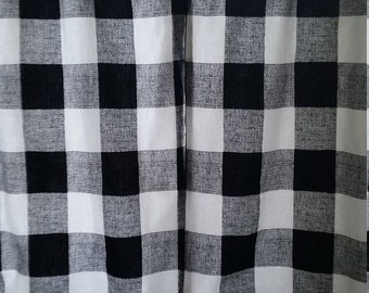 """Lined Cotton Window Curtain Panel - up to 45"""" Wide X Custom Length"""
