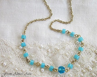 Blue Tiny Necklace, Tiny Necklaces, Blue Bead Tiny Necklace, Aqua and Gold Tiny Necklace,  Aqua Tiny Necklace, Tiny Beads Necklace, Circlet
