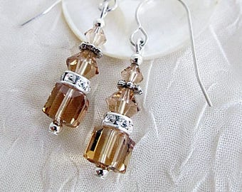 Topaz Crystal Earrings, Crystal Cube Dangles, Crystal Earrings, Crystal and Rhinestone Earrings, Light Topaz Earrings, Crystal Jewelr, Topaz