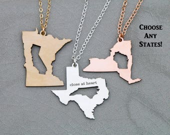 Best Friend Gift Girlfriend Necklace • Christmas Gift Going Away Gift Moving Long Distance Relationship Gift Friendship Jewelry State Gift