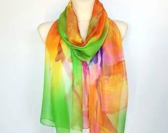 Silk Orange Scarf Women Silk Scarf Green and Orange Scarves for Women Spring Scarf Silk Large Scarves 17 Gift Mom from Daughter from Son