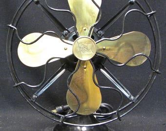 "Antique Cast Iron 3 Speed Robbins & Myers Brass Blade Fan 10"""