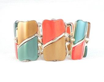 Vintage 50's Colorful WideThermoset Bracelet Mid Century Wide Thermoset Lucite Link Bracelet Brown Teal Rust Wide Bracelet 50's Bracelet