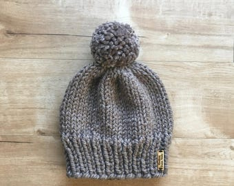 Sparkly Brown Knit Winter Hat + Pom Pom