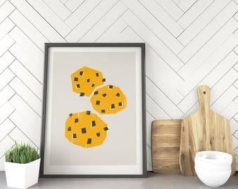 Cookies Print, Minimalist Food Wall Art, Illustration Print, Kitchen Decor, Retro Kitchen Poster, Mid Century Graphic Design, Baker Gift
