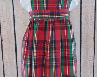 Ruffled Plaid full apron handmade excellent condition small/medium