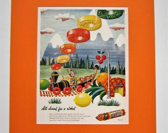 Vintage Wall Art, 1945 Life Savers Candy Advertisement, Matted 16x20, Nursery Wall Art, Childrens Bedroom Decor, Original Magazine Print Ad