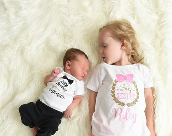 Big Sister Little Brother Shirt | Big Sister Little Brother Outfit | Sibling Matching Outfit | Photo Prop | Kid's Shirt | Baby Shower Gift
