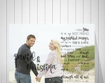 Wedding Anniversary Gift, Custom Photo Art, First Anniversary Gift, Wedding Gift for Dad, Gift for Mom, Vow Song Photo Print- 60277
