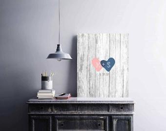 Rustic Wedding Guest Book Alternative, Bridal Shower, Hearts Wedding Guestbook, Hearts Pint Poster, Custom Canvas Weddimng Gift - 60577B