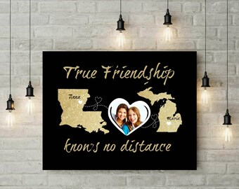 Long Distance Relationship | Custom Map Heart Print | Gift For Best Friend | Distance Quote | Distance Gift Idea - 56777