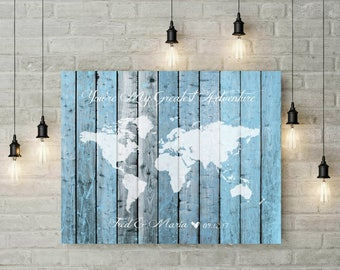 Alternative Wedding Travel World Map Sign Guest Book | Wood Art Print | Foam Board | Custom Canvas | Wedding Anniversary Gift For Him -51477