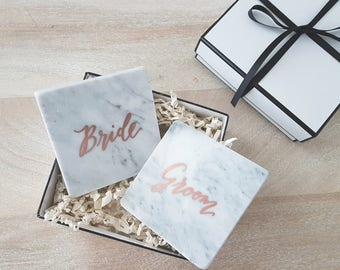 MARBLE COASTERS for Bride and Groom - Handlettered, calligraphy coaster, Set of 2