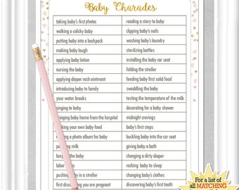 Captivating CHARADES Baby Shower Game With Gold And Soft Blush Colored Hearts, Diy  PRINTABLE, 38BA