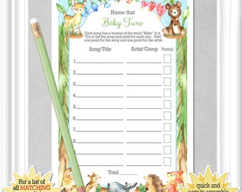 """Baby Shower """"NAME That TUNE game"""" (Instant Download) in a woodland theme with watercolor baby animals,Instructions & song list included,95BA"""