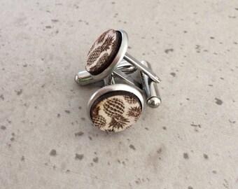 Wooden Cufflinks - Timber cufflinks - Laser engraved cufflinks