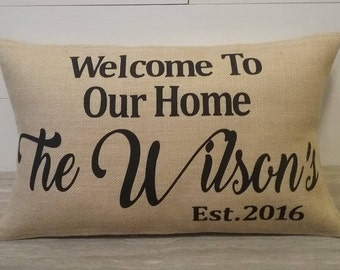 Burlap Address farmhouse Family Last Name Welcome Custom outdoor pillow covers