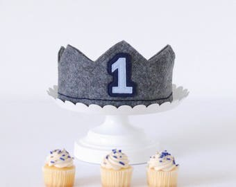 Navy Blue Birthday Crown - 1st Birthday Crown Boy - First Birthday Hat Boy - Smash Cake Crown - Boys Birthday Crown