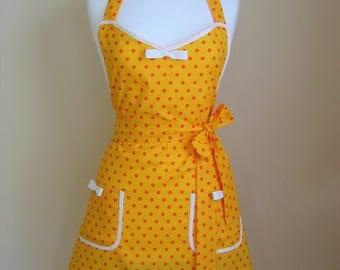 Apron/Retro Apron/Polka Dot Apron/Vintage Style Apron/1950s Style Apron/ Yellow Apron/Yellow and Orange Apron/ Womens Apron/ Handmade Apron