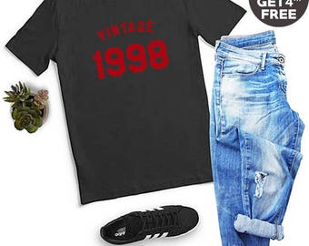 Vintage Shirt 20th Birthday Gifts 1998 Birthday Shirt Graphic Ladies Tshirt Tumblr Birthday Gifts Funny Shirt Men Tshirt Women Shirt Ladies
