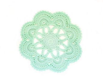 Crochet Aqua Mint Doily, Ashes of roses, White or Ivory Wedding Doily, New Hand Crochet Doily, Round Doily, Crochet Lace Doily
